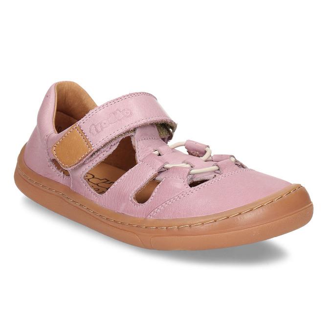 Růžové dětské kožené sandály na suchý zip froddo, růžová, 264-5610 - 13
