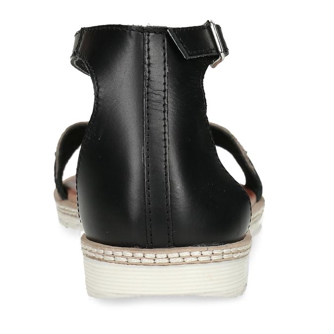 Kožené černé dámské sandály s metalickým vzorem bata, černá, 564-6619 - 15