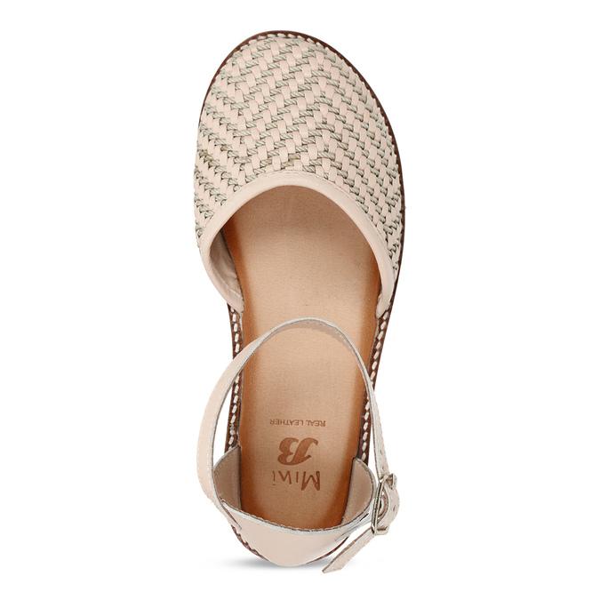 Béžové dívčí kožené sandály s uzavřenou špičkou mini-b, béžová, 324-8602 - 17