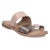 Růžové kožené dámské pantofle s hadím vzorem bata, růžová, 564-5620 - 13