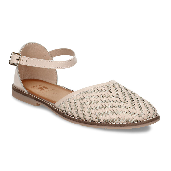 Béžové dívčí kožené sandály s uzavřenou špičkou mini-b, béžová, 324-8602 - 13