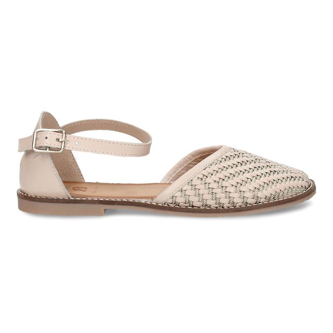 Béžové dívčí kožené sandály s uzavřenou špičkou mini-b, béžová, 324-8602 - 19