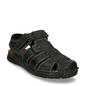 Tmavě šedé kožené pánské sandály s uzavřenou špičkou bata, šedá, 866-2616 - 13