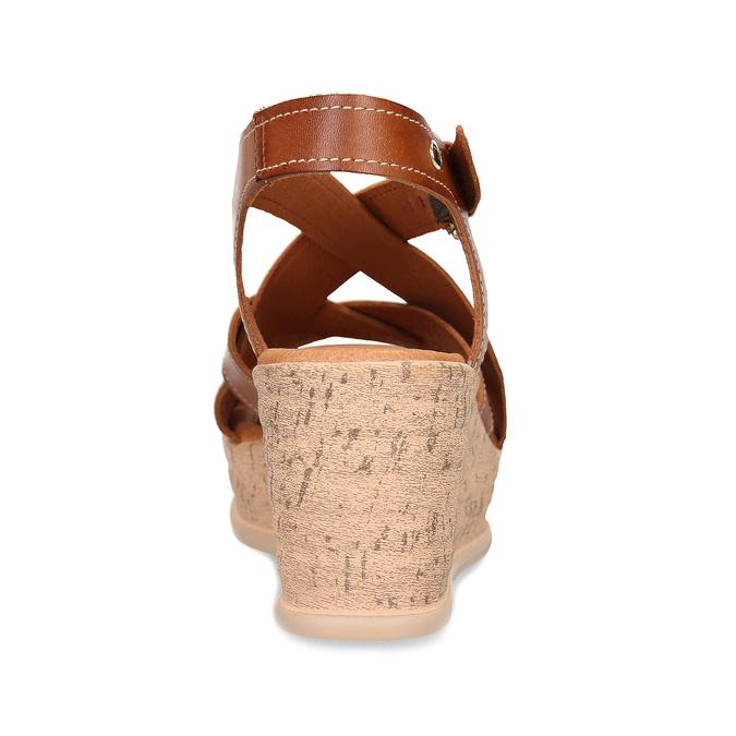 Hnědé dámské kožené sandály na klínovém podpatku pikolinos, hnědá, 664-4620 - 15