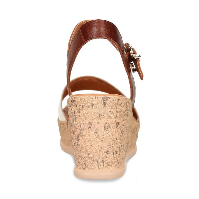 Bílo-hnědé dámské kožené sandály na klínovém podpatku pikolinos, bílá, 664-1620 - 15