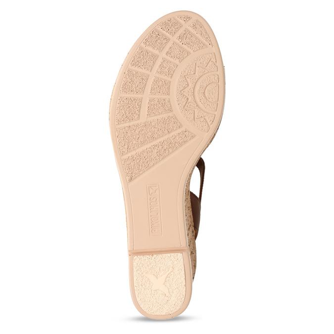 Hnědé dámské kožené sandály na klínovém podpatku pikolinos, hnědá, 664-4620 - 18