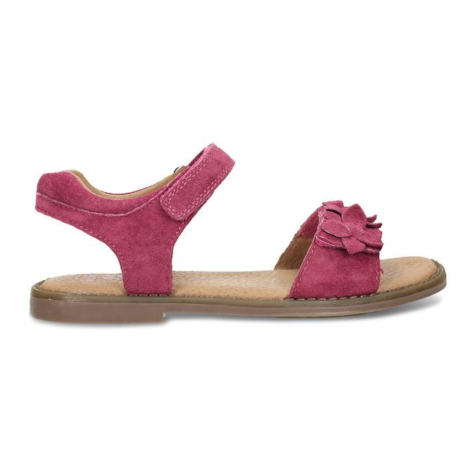 Tmavě růžové dětské kožené sandály mini-b, růžová, 366-5603 - 19