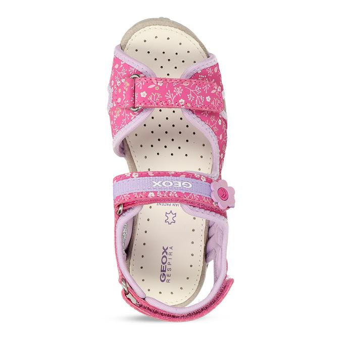 Růžové dětské sandály s květinovým potiskem geox, růžová, 369-5618 - 17