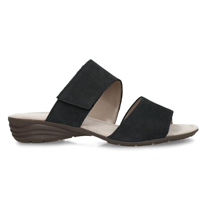 Černé dámské kožené pantofle gabor, modrá, 666-9602 - 19