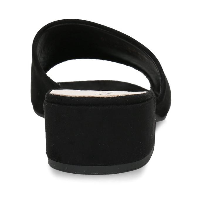 Černé dámské kožené pantofle na nízkém podpatku gabor, černá, 663-6606 - 15