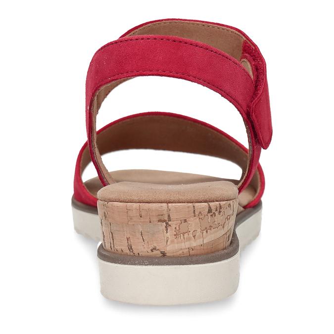 Červené dámské kožené sandály na nízkém klínku gabor, červená, 663-5600 - 15
