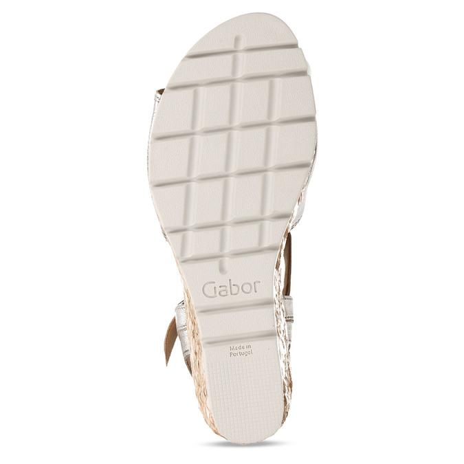 Stříbrné dámské kožené sandály na klínku gabor, zlatá, 666-8608 - 18