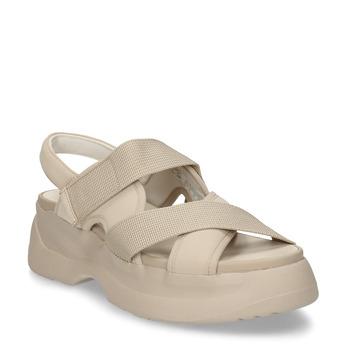 Béžové dámské kožené sandály na robustní podešvi vagabond, béžová, 569-1600 - 13