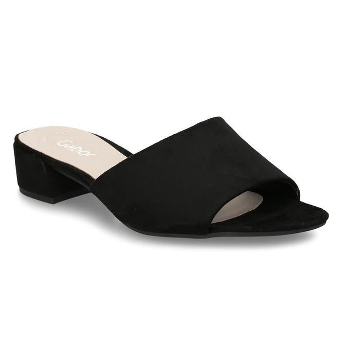 Černé dámské kožené pantofle na nízkém podpatku gabor, černá, 663-6606 - 13