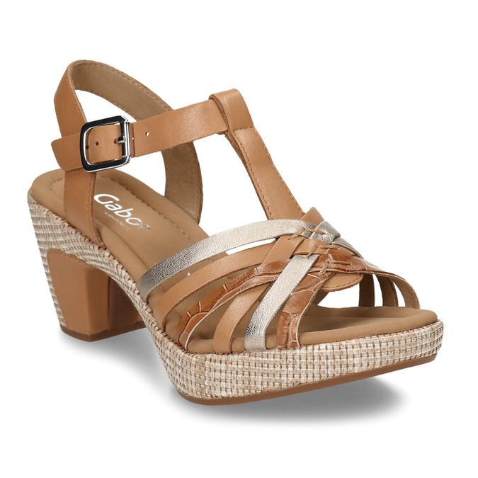 Hnědé dámské kožené sandály na podpatku gabor, hnědá, 666-0600 - 13