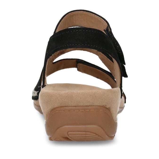 Černé dámské kožené sandály gabor, černá, 663-6600 - 15