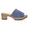Modré dámské kožené pantofle na podpatku gabor, modrá, 663-9600 - 19