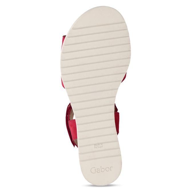 Červené dámské kožené sandály na nízkém klínku gabor, červená, 663-5600 - 18