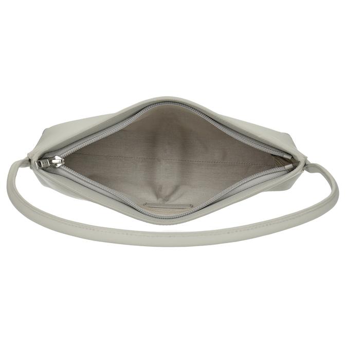 Šedá jednoduchá kožená dámská kabelka vagabond, šedá, 964-1638 - 15