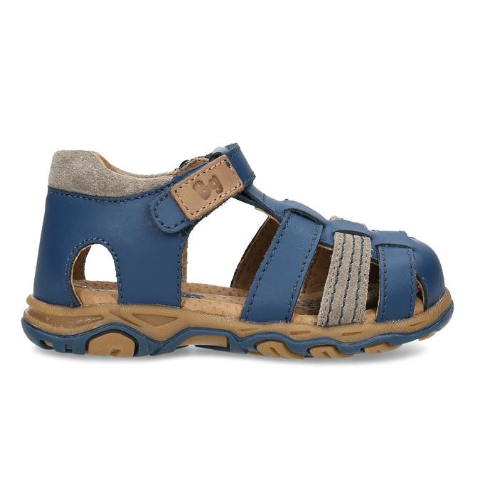Modré chlapecké kožené sandály s plnou špičkou bubblegummers, modrá, 164-9630 - 19