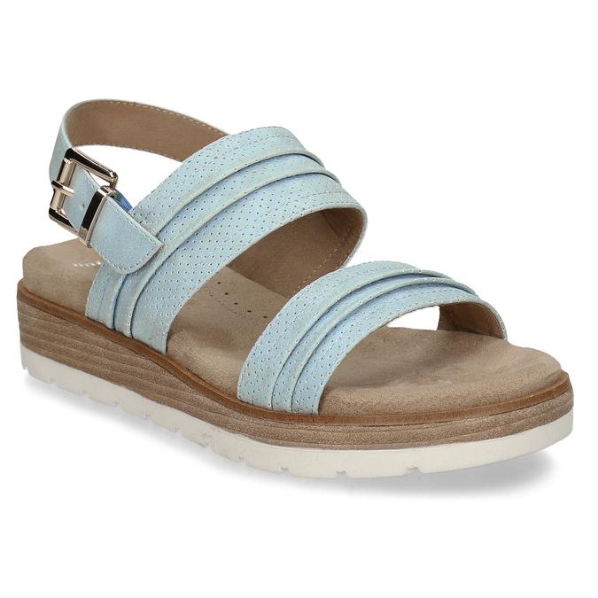 Modré dámské sandály na vyšší platformě bata, modrá, 561-9615 - 13