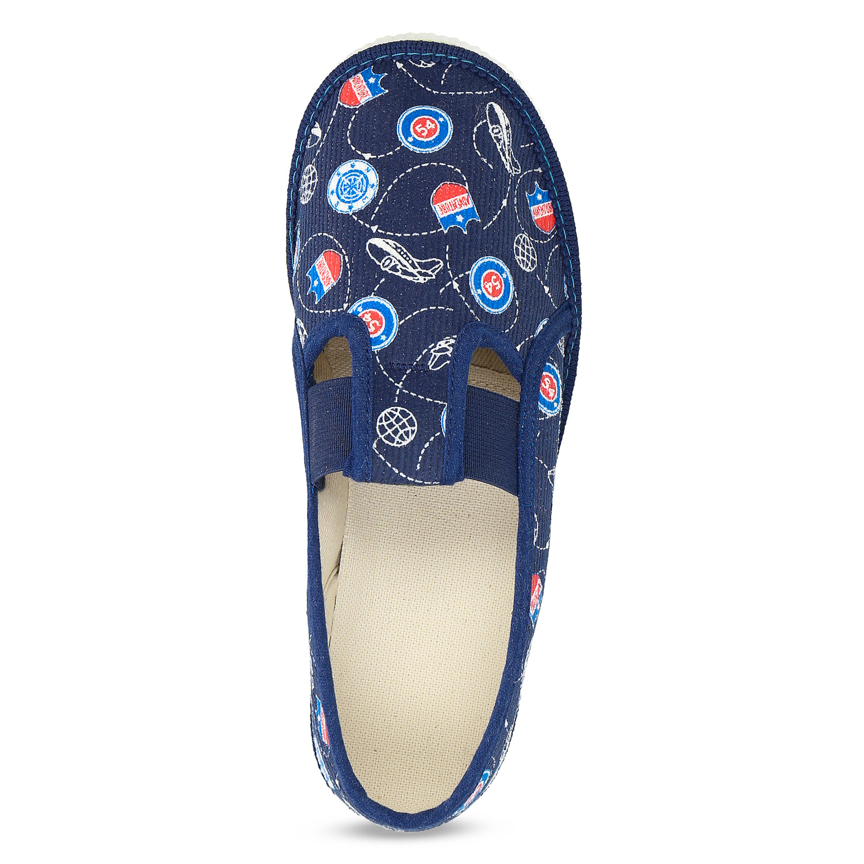 b70c3fde685 Baťa Modré dětské přezůvky se vzorem - Domácí obuv