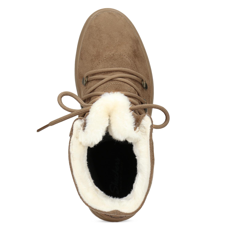 Skechers Hnědá dámská zimní obuv se zateplením - Ženy  05691a6e1a