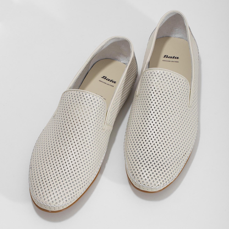 81a3741bc ... Bílé kožené pánské Loafers bata, bílá, 834-1627 - 16 ...